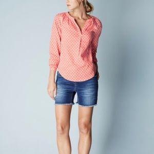 Boden | Coral Print Popover Blouse Size 6